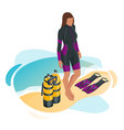 isometric scuba diver after dive is beached vector image vector image