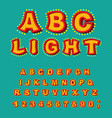 light abc retro alphabet with lamps glowing vector image vector image