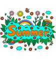 mandala and summer word doodle lettering colorful vector image vector image