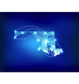 Maryland state map polygonal with spot lights vector image