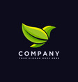 minimalist leaf bird logo icon template vector image vector image