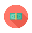 Money Banknotes Circle Flat Icon vector image