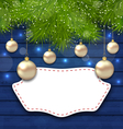 Navidad greeting card with golden balls and fir vector image vector image