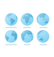 planet earth set different continents view vector image