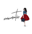 romantic woman in lovely red skirt and navy vector image vector image