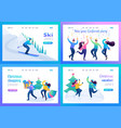 set 2d flat concepts young people have a rest vector image vector image