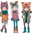 set cute girls in funny hats vector image
