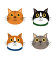 set of cute cats flat icons vector image vector image