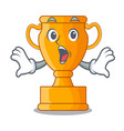 surprised champion golden trophy on cartoon table vector image