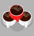 three cups of coffee vector image vector image