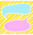 two speech bubbles on yellow background vector image vector image