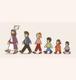 walk with jesus follow jesus cartoon vector image vector image