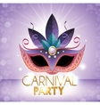 carnival party mask purple bright background vector image