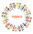 Families with kids background - circle frame vector image