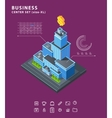 Set business isometric building icons diagrams vector image