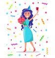 birthday girl holding bouquet roses and glass vector image vector image