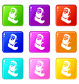 blacksmith icons set 9 color collection vector image vector image