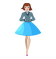 bob hair woman in jacket and short skirt vector image vector image