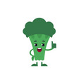 broccoli thumbs up showing ok gesture and smiling vector image vector image