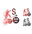 broken pixelated halftone sad business growth icon vector image