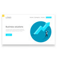 business solutions upward arrow and a businessman vector image