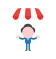 businessman character under shop store awning vector image vector image