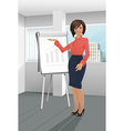 Businesswoman giving a presentation vector image vector image