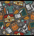 cartoon hand-drawn back to school seamless pattern vector image vector image