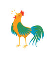 cartoon rooster character singing song male vector image