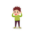 cheerful boy kid character standing with hands up vector image vector image
