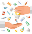 concept with hands doctor and vector image vector image