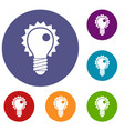electric bulb icons set vector image vector image
