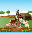 farm animals at cage background vector image