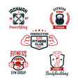 fitness sport club gym and bodybuilding badge set vector image vector image