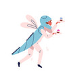 funny guy in dragonfly costume carrying cake vector image vector image