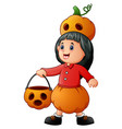 funny little girl dressed as a pumpkin vector image vector image