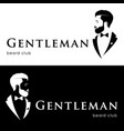 gentleman logotype beard club hipster in tuxedo vector image vector image