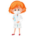 girl in doctor costume holding hand sanitizer vector image vector image