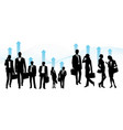 global team business people - set of silhouettes vector image