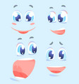 happy facial expressions cartoon set vector image
