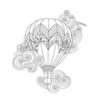 hot air balloon in zentangle inspired doodle style vector image