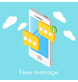 isometric smartphone with new messages vector image vector image