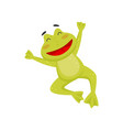 joyful frog in jumping action with paws up happy vector image
