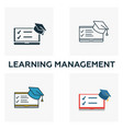 learning management icon set four elements in