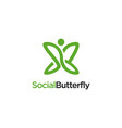 link connect butterfly logo icon template vector image vector image