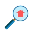 Magnifying glass with house sign vector image