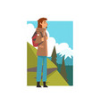 man with backpack in summer mountain landscape vector image vector image