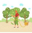 man works garden use tool engage gardening vector image