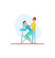 massage of back using special chair icon vector image