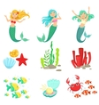 Mermaids And Underwater Nature Stickers vector image vector image